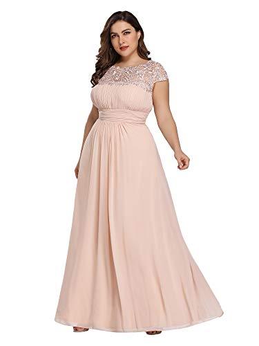 Ever-Pretty Vestido de Dama de Honor Cuello Redondo Encaje Gasa Corte Imperio A-línea Talla Grande para Mujer Sonrojo 46
