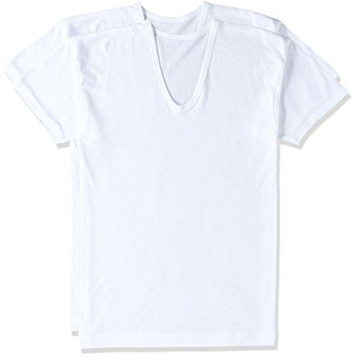 [グンゼ] インナーシャツ 半袖U首 抗菌防臭 速乾柄フライス RC26162 メンズ ホワイト 日本 L (日本サイズL相当)