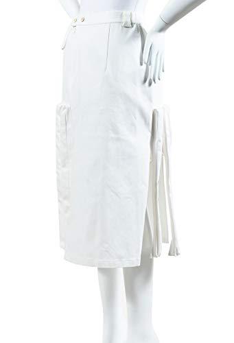 Julien David Women's White Denim Pleated Paneled Skirt SZ M