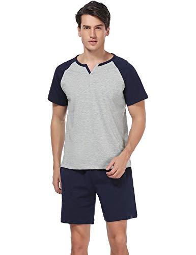Aiboria Pijama Hombre Verano Corto Ropa para Dormir de 100%