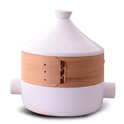 WOLJW 2.5L Moroccan Original-Tajine Keramik Taji Pot Hitzebeständige Suppentopf Taj Mahal Geschirr mit Deckel Geeignet für 2-4 Personen,Weiß