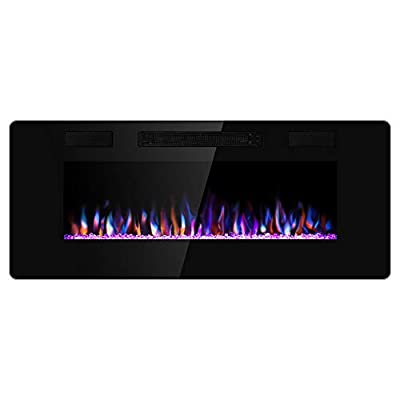 Xbeauty 60 inch Wall Mounted Recessed Electric Fireplace Insert, Flush Mount Linear Fireplace, Ultra-Thin Lightweight LED Fireplace Heater, Fit 2x4&2x6 Stud w/Touch Screen,Remote Control,1500W,Black