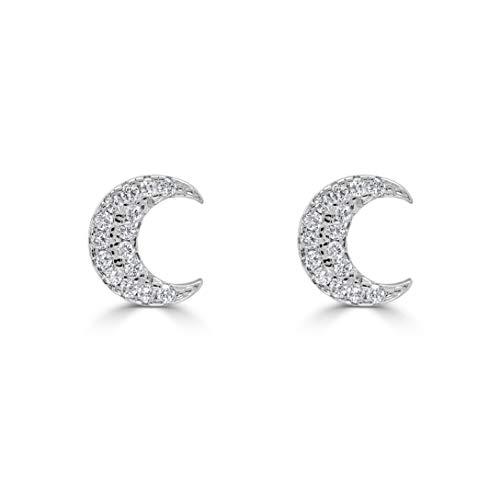 Isabella Silver LONDON Designer Jewellery 925 Sterling Silver CZ Encrusted Stud Earrings (Moon)