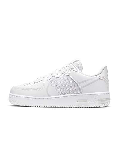 Nike Herren AIR Force 1 React Basketballschuh, White/Pure Platinum, 46 EU