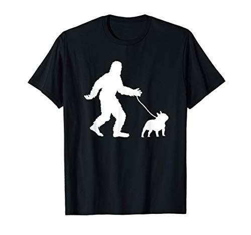 Bigfoot Walking French Bulldog Gift Sasquatch Frenchie Dog T-Shirt
