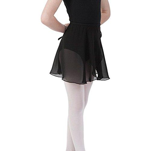 Bezioner Ballettrock Wickelrock Tanz Rock aus Chiffon Mit Taille Krawatte für Mädchen und Damen Schwarz L
