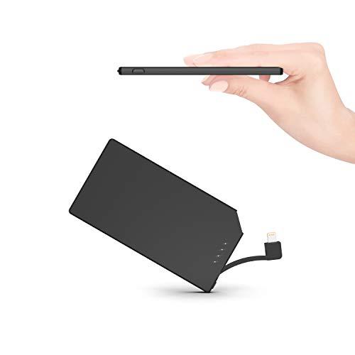 TNTOR モバイルバッテリー 軽量 小型 超薄 6mm 5000mAh ケーブル内蔵 iPhone対応 専用 スマホ充電器 持ち運び便利 地震/災害/旅行/出張用【PSE認証済】