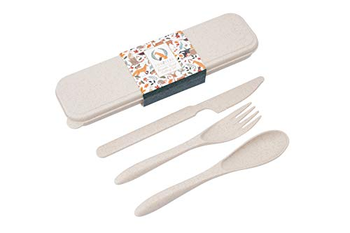CGB Giftware Cutlery Travel Set and Box | Includes Knife Fork and Spoon | Perfect for Work Picnics Camping School Office | Eco Friendly 100% Recyclable Wheat Composite | GB05471