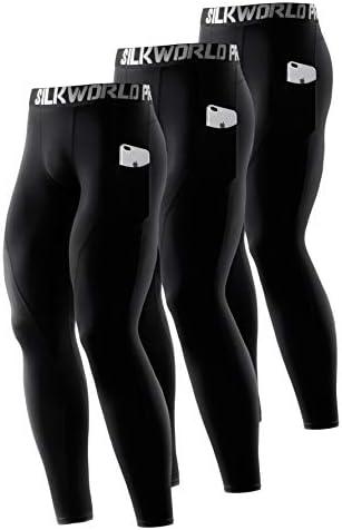 SILKWORLD Men s Compression Pants Pockets Cool Dry Gym Leggings Baselayer Running Tights Large product image