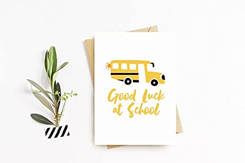 Yilooom Greeting Card with Envelope 7 X 10 Inch Good Luck at School Card, Wishing You The Best of Luck Card, School Card, New School, Leaving School, Starting School#B64