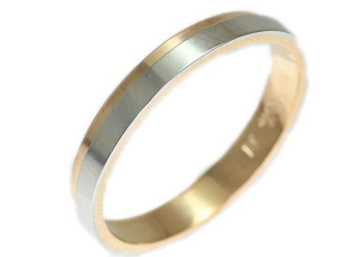[京都ジュエリー工房] 結婚指輪 マリッジリング プラチナ ピンクゴールド コンビリング PT900 18金 ゴールド ペアリング PG 鍛造 平打ち レディース メンズ 両用 「ケティル」 p370 22号