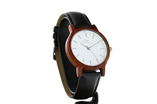CWA Design Tofino - Reloj de Madera de rosal en Color Negro, Mecanismo de Cuarzo japonés Miyota, Reloj de Madera auténtica con Correa de Cambio, Reloj de Pulsera con Esfera de Madera