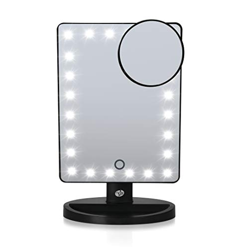 Rio Beauty Miroir de Maquillage 24 LED à intensité Variable Noir 6 x 6 x 25 cm