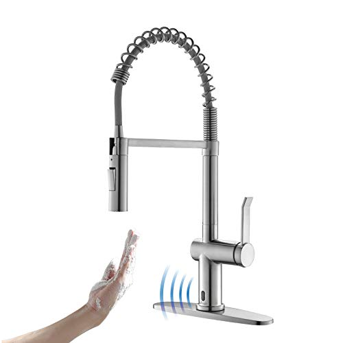 Touchless Kitchen Faucet with Pull Down Sprayer, APPASO Motion Sensor Activated Hands-Free Automatic Kitchen Faucet, Inducing Single Handle Smart Faucets for Kitchen Sink, Stainless Brushed Nickel