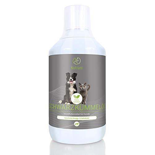 Nutrani Schwarzkümmelöl für Hunde | 500ml – 100% natürlich – Kaltgepresst mit wertvollen Fettsäuren, Aminosäuren und Vitaminen