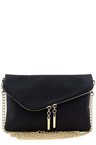 Envelope Wristlet Clutch Crossbody Bag with Chain Strap (Black)