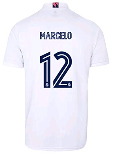 2020-2021 Season Kids/Youths Home Soccer Jersey/Short/Socks Colour White (Real Madrid Marcelo #12(8-9years/size24))