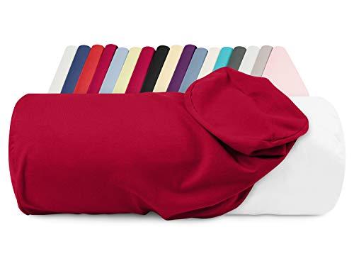 npluseins Jersey-Kissenhülle für Nackenrollen in 17 Farben - 100% Mako-Baumwolle - Einheitsgröße ca. 40 x 15 cm, Bezug in Kamin