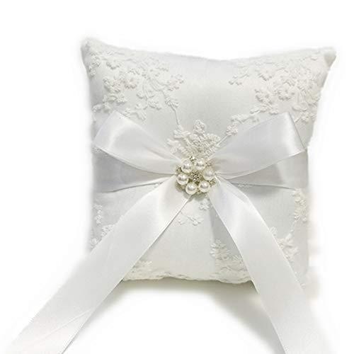 Ringkissen für Hochzeitsringe, mit Spitze, Schmuckkissen, Brautzubehör für Hochzeitsfeiern