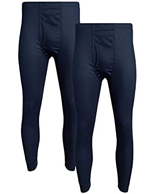 Fourcast Big Men's Thermal Pajama Bottoms - Plus Sized Base Layer Long John Sweatpants (2 Pack), Navy, Size 5XL