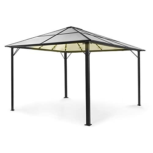 blumfeldt Pantheon Solid Sky Ambient Solar pabellón, Aluminio, Postes de 7,6 x 7,6 cm con Aluminio de 1,2 mm de Grosor, Techo: 6 mm de policarbonato Doble, Superficie: 3 x 4 m, Techo Transpare