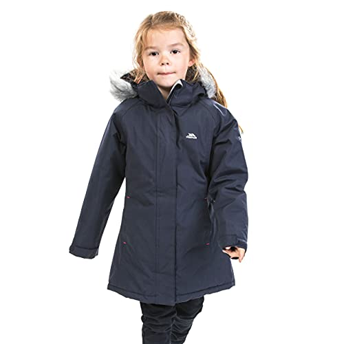 Trespass Fame, Navy, 9/10, Warm Padded Waterproof Winter Jacket with Removable Hood for Kids / Girls, Age 9-10, Blue