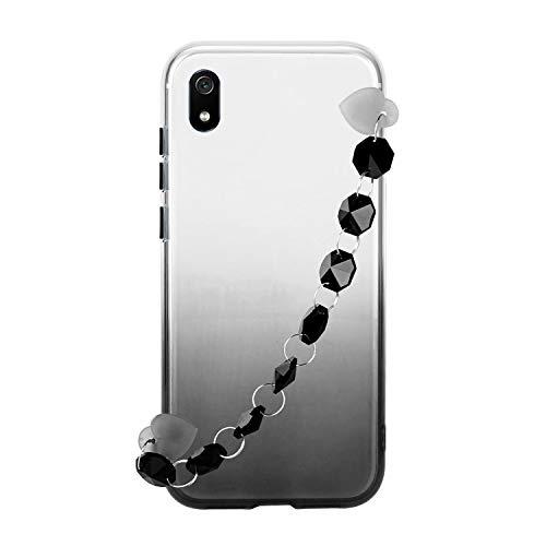 Miagon Armband Kette Hülle Huawei Y5 2019,Gradient Handyhülle Weich Silikon Klar Slim Stoßfestr Schutzhülle Ultra Dünn Bumper für Huawei Y5 2019,Schwarz