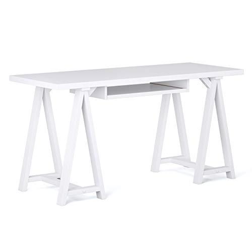 Simpli Home Sawhorse Desk, 60 inch, White