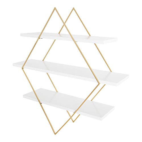 """Kate and Laurel Daxton Modern Wood and Metal Wall Shelf, 31"""" x 32"""", White and Gold, Glam Wall Organization"""