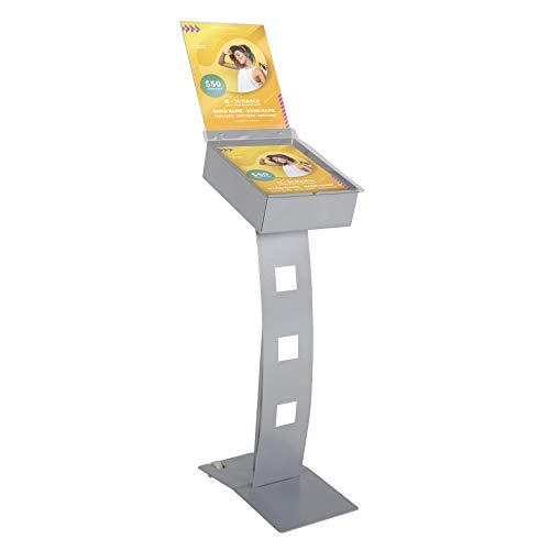 Display Sales - Expositor para folletos (formato vertical, DIN A4, resistente al agua, de metal, con caja para folletos y bolsa para cartas)