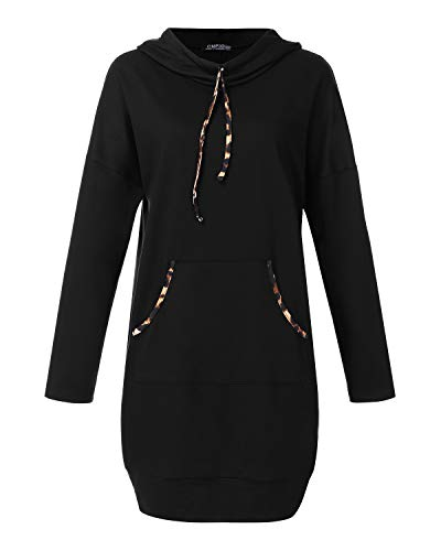 CNFIO Damen Langarm Kleider Sweatshirt Dress Pullover Hoodies Kleider Sweaterkleid Oberteile Sport Tops Minikleider Herbst Schwarz M