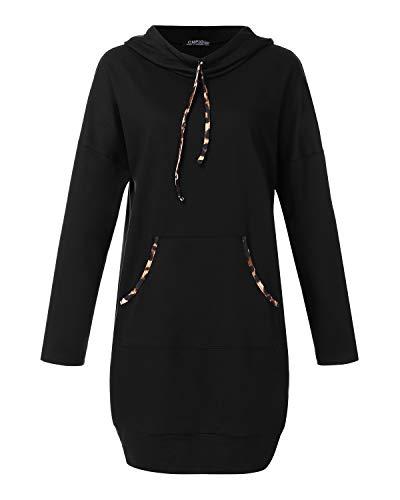 CNFIO Damen Langarm Kleider Sweatshirt Dress Pullover Hoodies Kleider Sweaterkleid Oberteile Sport Tops Minikleider Herbst Schwarz XL