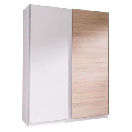 MEUBLO Armoire, Penderie avec étagères et 2 Portes coulissantes (L x H x P): 150x206x62 cm (ADA3: Blanc Mat + Sonoma)