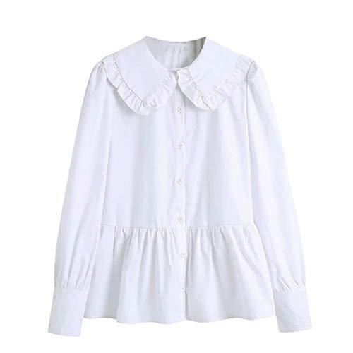 Mujeres Dulce Moda Botonadura Volantes Blusas Vintage Solapa Cuello Manga Larga Camisas Femeninas
