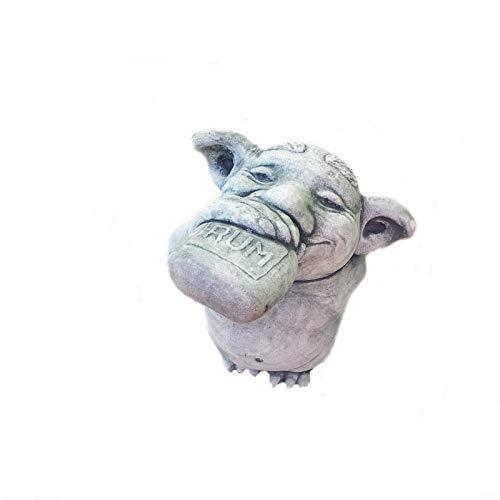 Steinfigur Wichtel Troll Gnom mit Rumbuddel Frostsicher Steinguss Gartenfigur