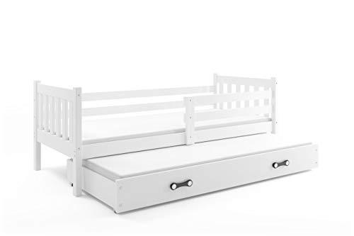 Interbeds Cama Infantil Nido 190X80 CARINO, 2 colchónes incluidos! 2 somieres de Maderas Flexibles INCLUIDOS! (Blanco)