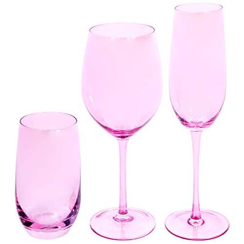 EME Mobiliario Juego de Copas de Cristal en Color Rosa Compuesto por...