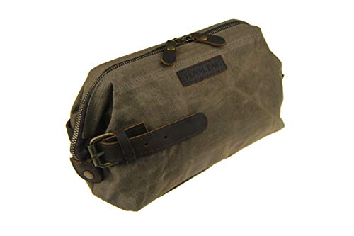 ROYALFAIR Toiletry Bag for Men Waterproof Real Leather Wrist Retro Canvas Dopp Kit Travel (Army Green)