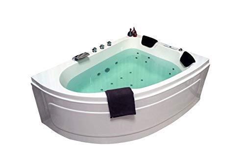 DOBLE Whirlpool bañera Titanio Hecho en Alemania 180 x 130cm con 25 BOQUILLA DE MASAJE + Iluminación LED / LUZ + Calefacción + DESINFECCIÓN del ozono + BALBOA / DHW + Grifería Angular DERECHA