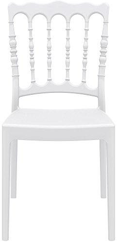 Lot de 4 chaises empilables Napoleon blanches en Polypropylene