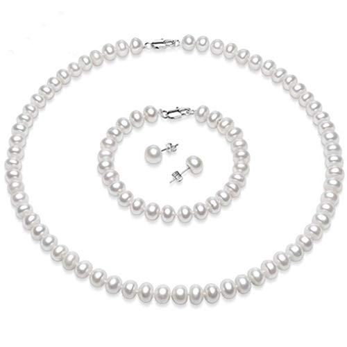 TreasureBay Natural Freshwater Pearl Necklace Bracelet and Earrings jewellery set womens pearl necklace set