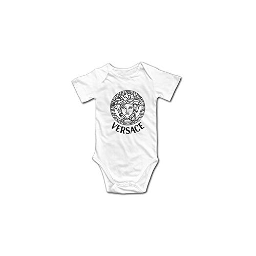 Ez-Versaces-Style Replica T-Shirt - Unisex Baby Infant Luxury Brand Inspired Design Onesies Bodysuit Romper White