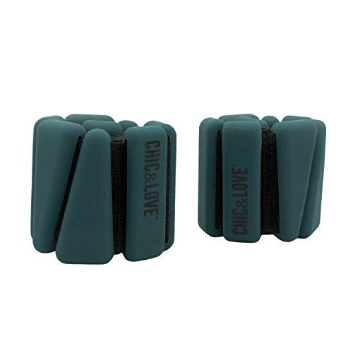 CHIC & LOVE | Set di pesi zavorrati per caviglie e polsi | 2 x 0,45 kg di peso | regolabili e regolabili | per tonificare e potenziare i tuoi esercizi | palestra, nuoto, camminata o yoga (blu)
