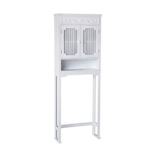 Elegant Home Fashions Lisbon Above Over the Toilet Tall Slim Bathroom Organizer Space Saver Freestanding Cabinet with 2 Curtained Doors Adjustable Shelf, White
