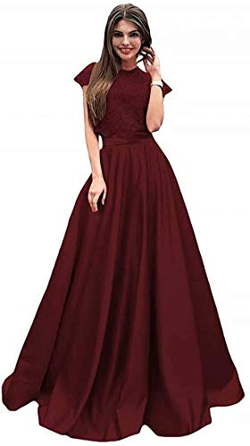 P PROMSTAR Lace Appliques Satin Prom Dresses Long Two Piece Cap Sleeve Formal Gowns for Women 2021 Burgundy Size 16 (Apparel)