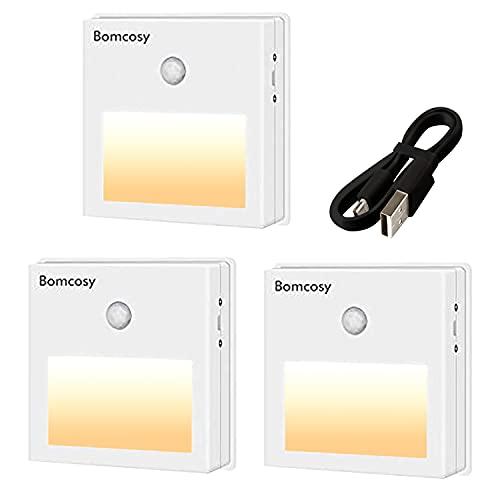 Veilleuse LED Automatique, Bomcosy Lot de 3 Lampe Placard Détecteur de Mouvement Interieur, Lampe LED USB Rechargeable, Blanc Chaud, 3 Modes (Auto/On/Off) pour Penderie, Couloir, Armoire, Escalier
