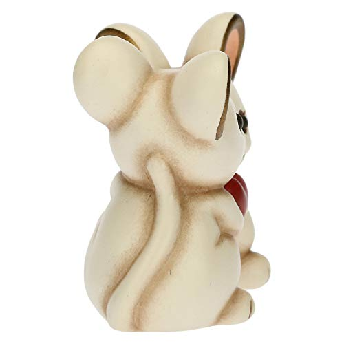 THUN - Soprammobile Coppia di Topini con Cuore - Bomboniere - Linea Cerimonia - Formato Mini - Ceramica - 5,5 x 3,1 x 4,5 h cm