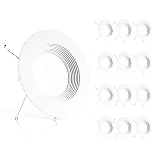 Ensenior 12 Pack 5/6 Inch LED Recessed Downlight, Baffle Trim, 5000K Daylight, 12W 110W Eqv, Dimmable Downlight, 1100LM High Brightness - ETL and Energy Star Certified