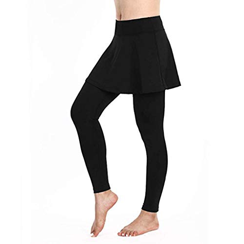 Donna Pantalone Capri Leggings con Gonna da Tennis Rock 3/4 Stampa Tessuto 2 in 1 US-Standard - Pantaloni Donna Leggings Yoga a Vita Alta(Nero,Small
