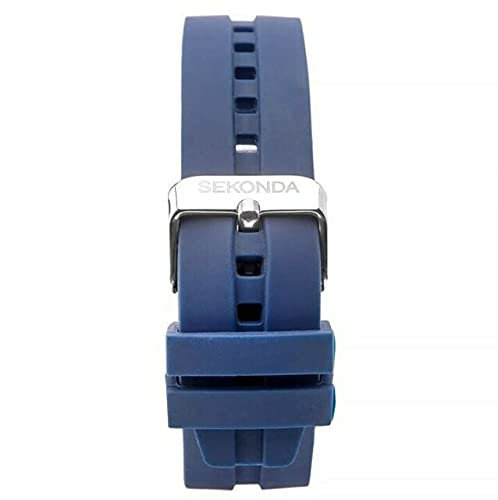 Mens Sports Analogue Quartz Watch with Blue Silicone Strap and Grey Dial 1702